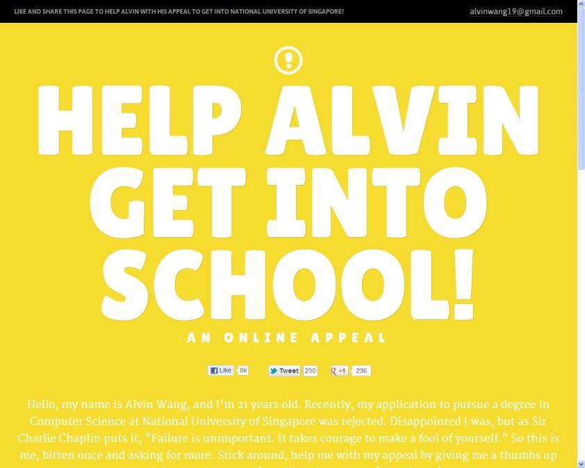 Website of Help Alvin Get Into School!