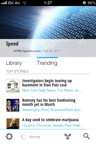 Google Currents trending page