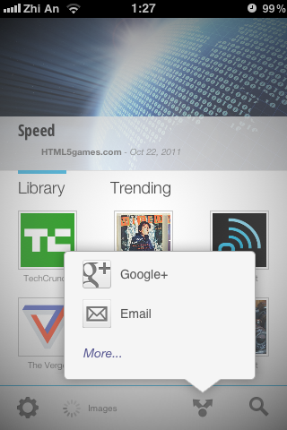 Google Currents sharing features
