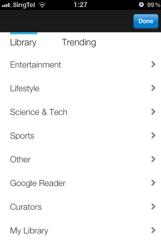 Google Currents library search page